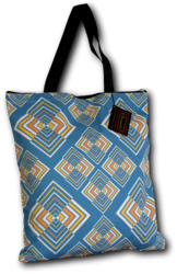 Tote-Bag Rhombus blue-yellow