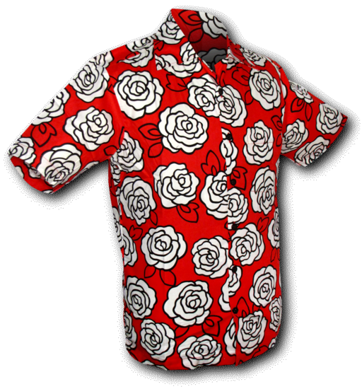 Shortsl. Outlined Roses red-white